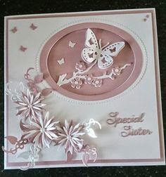 Britannia dies - leaf swirl, flower branch, chrysanthemums x4 sizes, decorative butterfly,  words - sister & special