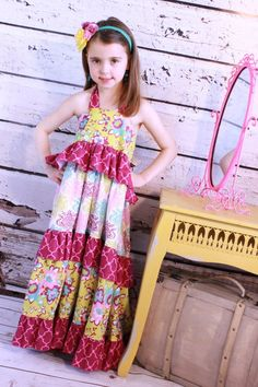 Vintage Boutique Ruffle Halter Maxi Dress by SugarBabyBow on Etsy