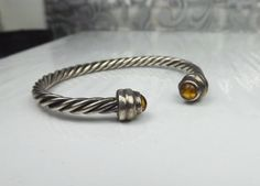 Flexible Sterling Silver 950 Amber Rolled Cable Adjustable Wrap Cuff Bracelet #Unbranded #Statement