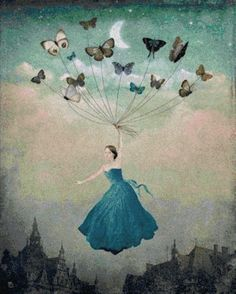 """""""Leaving Wonderland"""" by Christian Schloe - Buy """"Leaving Wonderland"""" as Poster by Christian Schloe and many more photos, posters and art prints on ARTFLAKES. Butterfly Art, Butterfly Painting, Butterfly Balloons, Madame Butterfly, Pop Surrealism, Fine Art, Surreal Art, Art Plastique, Fantasy Art"""