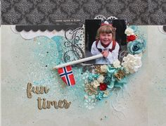 """Fun times"", a mixed media layout. This layout features different ways of using Kaisermists and the Always and forever collection. Created by Kirsten Hyde."
