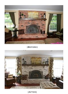 Oh I wonder if I could convince Bob to let me do this..... I HATE our fireplace wall! The Yellow Cape Cod: White Washed Brick Fireplace~Tutorial