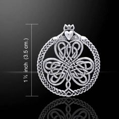 - Celtic Irish Shamrock Pendant with Claddagh & Celtic knotwork in .925 Sterling Silver. - Faith - Honor - Love - Loyalty - Friendship - Luck - Tradition. - Pendant is approximately 1 3/8 of an inch -