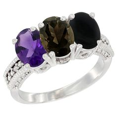 10K White Gold Natural Amethyst, Smoky Topaz and Black Onyx Ring 3-Stone Oval 7x5 mm Diamond Accent, sizes 5 - 10 * Startling review available here  : Jewelry Ring Bands