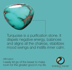 Turquoise, the Master Healer Stone, brings powerful energies to strengthen your overall body. Perfect for balancing your Throat Chakra. Crystals Minerals, Gems And Minerals, Crystals And Gemstones, Stones And Crystals, Gem Stones, Story Stones, Blue Crystals, Reiki, Les Chakras