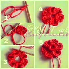"""""""The difference is in the details"""": Easy crochet: Flowers bows Size 1 - mm hook Begin with a magic circle [ Chain work 6 tr, ch sl st into the ring] Repeat sequence in [ ] to form 6 petals. Pull yarn tail to tighten the loop, end off. weave in ends. Crochet Diy, Crochet Simple, Love Crochet, Crochet Crafts, Crochet Projects, Crochet Puff Flower, Knitted Flowers, Crochet Flower Patterns, Crochet Roses"""