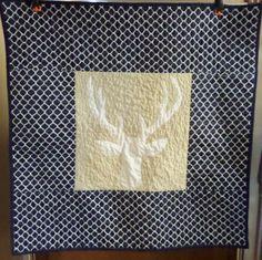 Navy Tan Deer head homemade baby boy crib quilt or blanket - Bedding item - Woodland nursery - Ready to ship by createdbymammy on Etsy