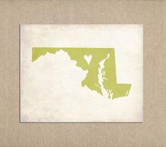 Maryland Love State Customizable Art Print by mereleemade on Etsy, $16.00
