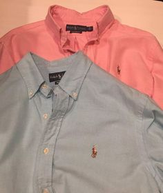 Medium M NWT Men/'s Ralph Lauren Short-Sleeve Polo Shirt Blue Pink Custom Slim