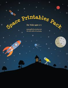 Space Printables Pack: 75 space-themed worksheets and activities for kids ages 2-7. I love this resource for doing a space unit with kids!    Gift of Curiosity