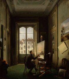Carlo Canella Ritratto del pittore Giuseppe Canella nel suo studio di Milano (1837) oil on canvas, 52.5 x 45.5 cm. GAM, Milano