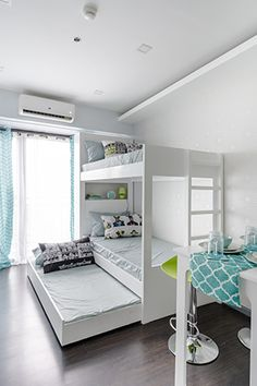 This side of the condo unit provides sleeping spaces for three people. Studio Condo, Studio Apartment Design, Small Studio Apartments, Studio Type Condo Ideas Small Spaces, Small Condo Living, Small Living Room Design, Living Spaces, Condo Interior Design, Condo Design