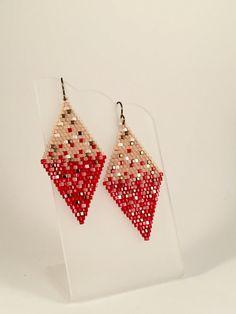 Cube Seed Bead Dangle Earrings Cristobal by Calisi on Etsy