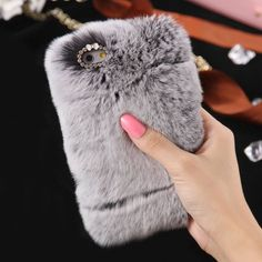 Soft Fluffy Bling Rhinestone Fur Cover For iPhone 5 5S SE 6 6S Plus 7 Plus