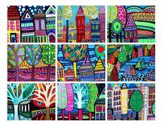 Set of 9 ACEO Card PRINTs  Landscapes by HeatherGallerArt on Etsy, $24.00