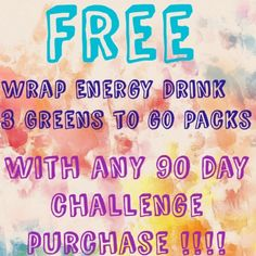 Free bundle w/any 90 day challenge purchase! Try any product out for 90 days at my price!!! And get a free wrap, energy drink, and 3 greens to go packs! You will get this bundle every month!   what an amazing deal! Oh and you also get all the amazing loyal customer benefits & $perks!! ‼️ send me a picture of you and your product and I'll send you another free wrap‼️That's an amazing deal!!!! ✨I have limited spots✨ they fill up last!!! Message me  ➡️all ordering must be done at…