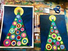 that artist woman: Kandinsky Christmas Tree – Weihnachten Christmas Art Projects, Christmas Tree Art, Winter Art Projects, Christmas Card Crafts, Preschool Christmas, Christmas Activities, Holiday Crafts, Kindergarten Art Lessons, Art For Kids