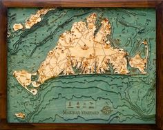 MARTHAS VINEYARD 16 x 20 LaserCut 3Dimensional Wood Chart  Lake Art Map *** More home décor info could be found at the image url.