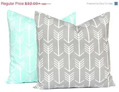 SALE Mint Green and Gray Pillow Covers Grey by FestiveHomeDecor