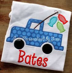 Boys Personalized Fishing Truck Appliqued and Personalized Shirt on Etsy, $23.00
