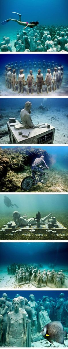 Underwater museum, Cancun, Mexico http://www.scubadiveincancun.com/divecancunuwmuseum.html. http://www.litoralverde.com.br/cancun.php #ScubaDivingInfographicsandQuotes