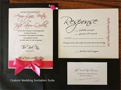 Black and Hot Pink Wedding Invitation suite includes RSVP and registry card