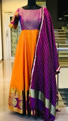 Beautiful orange and violet color floor length anarkali dress with violet color dupatta. Ready to ship Price : 8500 INR To order Whatsapp 7013728388