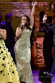 Hamilton star Jasmine Cephas Jones wore our Hand Beaded Grooved Metallic Gown from the Pre-Fall collection during a performance at the 2016 Tony Awards in New York, NY.
