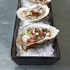 Red Carpet Appetizers and Drinks | Oysters with Pink Peppercorn Mignonette | CookingLight.com