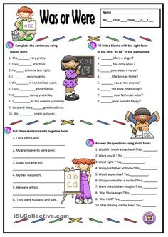 A simple worksheet to practise the verb to be - past simple. Grammar: BE (auxiliary verb); English Grammar Worksheets, English Verbs, Kids English, English Tips, English Lessons, English Vocabulary, Learn English, Improve English, French Lessons
