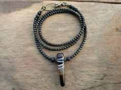Sardonyx Spike Necklace in black white and by ArtifactsEtCetera
