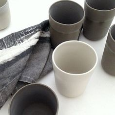 Studio Enti's porcelain dusk beakers + a Pony Rider's mountaineer tea towel make a perfect gift pack together for that person who's difficult to buy for.  antlerandmoss.com  #ceramics #porcelain #beakers #tableware #textiles #ponyrider #antlerandmoss #homewares #studioenti #grey #dusk