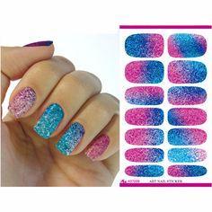 2016 Foil Nails Art Sticker Colored Glitter Fashion Manicure Sticker Solvent Resistant Glitter Nail Decor Decal ZJT007