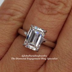 We specialize in diamond engagement rings. The #classic emerald cut #diamond engagement ring.