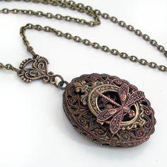 Tiny Dragonfly  Bronze and Copper Locket by TrashAndTrinkets, $38.00