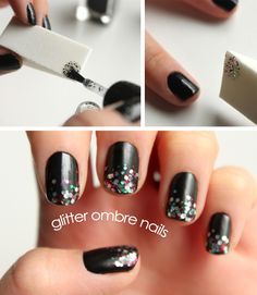Glitter ombre nail tutorial by Syl & Sam #ManicureMonday