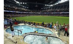 Chase Field Pool Pavilion: It gets hot in Arizona, so why stick to sweaty seats (literally) when you can watch the Diamondbacks play while soaking in a cool pool? Chase Field is the only Major League ballpark in the world with a spot to swim. The Pool Pavilion, located in right field, also has a hot tub. Box packages include preferred parking passes, towels, catering and a concierge.