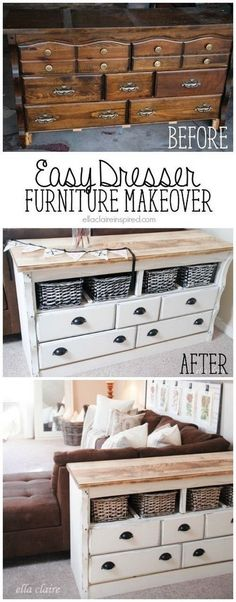 Furniture Makeover -DIY Refinished Side Table With Lots Of Storage. Instead of throwing away the dated old dresser, you can turn it into a genius side table with lots of storage! Love the vintage and shabby chic look! Refurbished Furniture, Furniture Redo, Repurposed Furniture, Shabby Chic Furniture, Furniture Projects, Furniture Stores, Cheap Furniture, Furniture Movers, Furniture Outlet