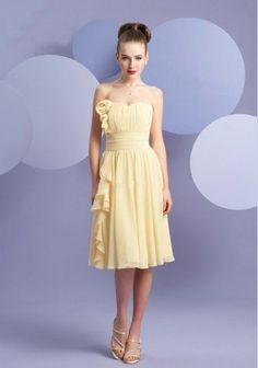 Discount Chiffon Strapless Sweetheart A-Line Short Bridesmaid Dress Free Measurement