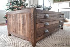 Reclaimed Wood Coffee Table with Printmaker Style Drawers