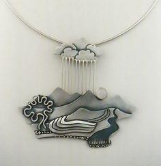 """Peruvian Rainstorm"" Sterling silver by Ahlene Welsh:"