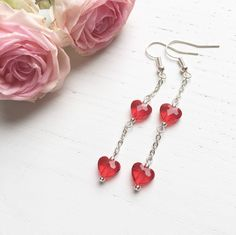 Swarovski Red Hearts With Chain