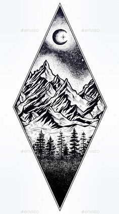 Hand drawn nature pine forest with mountains landscape, beautiful moon, sky with. - Hand drawn nature pine forest with mountains landscape, beautiful moon, sky with sacred geometry el - Forest Tattoos, Nature Tattoos, Montain Tattoo, Stylo Art, Landscape Tattoo, Landscape Paintings, Geometric Tattoo Landscape, Mountain Landscape Drawing, Adventure Tattoo