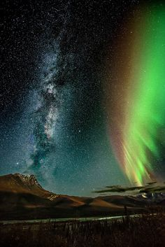 Milky Way and the Aurora Borealis in North Slope Borough, Alaska
