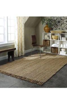 $123 potential for living room Amazon.com: Natural Fiber Eco Friendly Jute Area Rug 5x8 Beige: Furniture & Decor