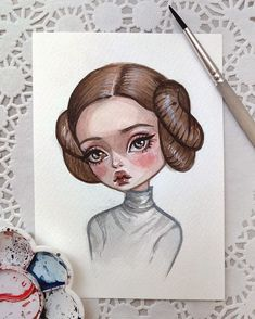 Yep, it's Princess Leia #art #disneyprincess #disneyart #disney #starwars #princessleia #leia #postcard #etsy
