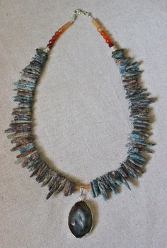 Stone chip necklace with druzy agate by StarsonMarsJewelryCo