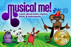 Join Mozzarella the Mouse in a musical world with five activities, that teach the fundamental components of music. (Ages 3 and up)  1) MEMORY -- Listen to the notes and copy the pattern. Train your ear to hear different pitches.  2) RHYTHM -- Touch the birds to play a song. Learn about rhythm, and short and long notes.  3) DANCE -- Tap, drag, or hold the monsters and make them dance to the beat.  4) INSTRUMENTS -- Play along with a drum, cymbals, triangle, maracas, egg shaker, or duck!  5) N...