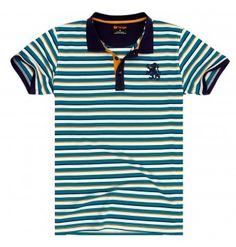 Springfield White with Green And Yellow Stripes Polo T-Shirt