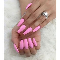 Pretty Pink Coffin Nails ❤ liked on Polyvore featuring beauty products and nail care